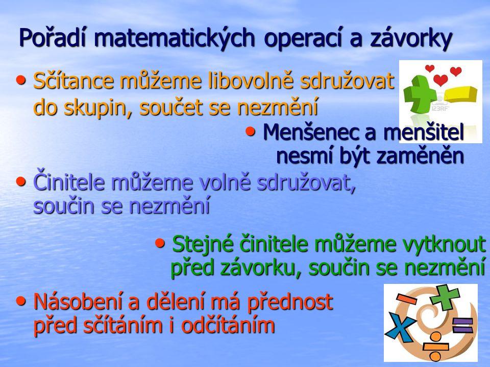 Pořadí matematických operací a závorky