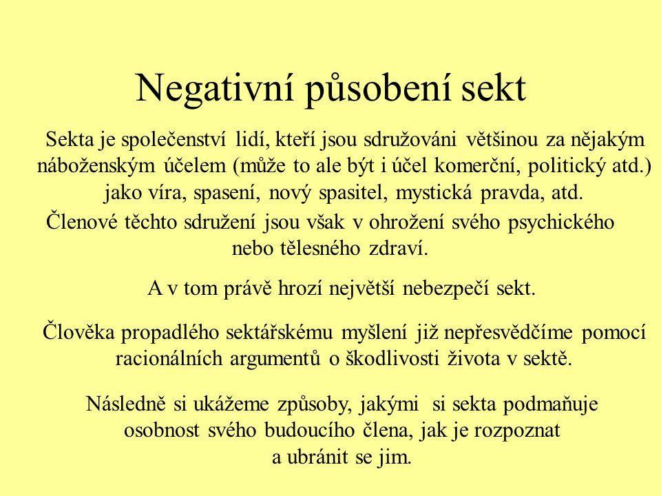 Negativní působení sekt