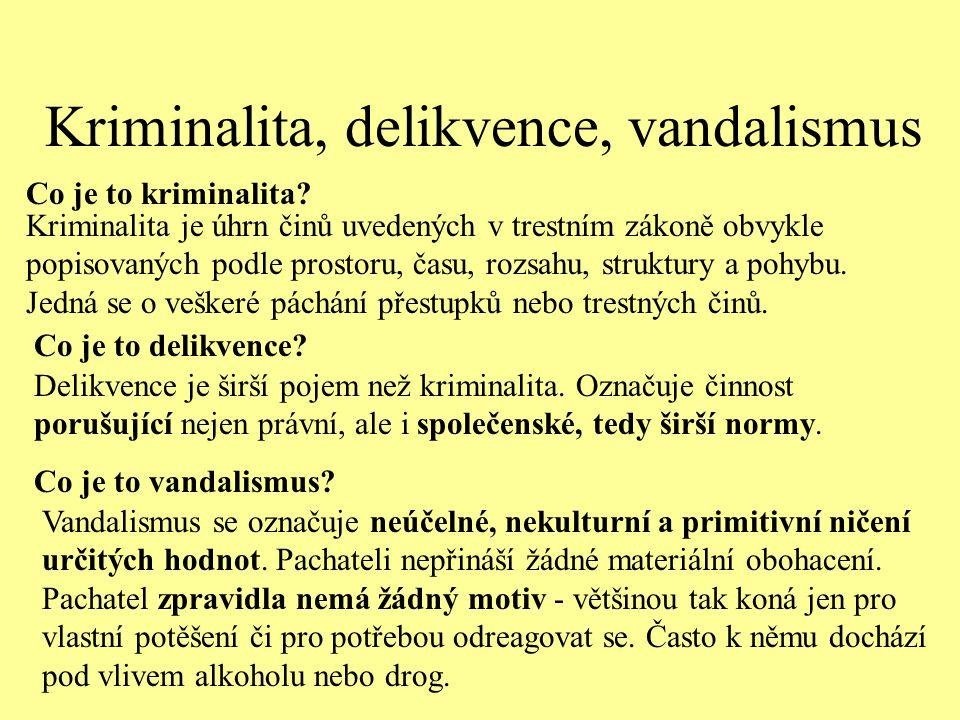 Kriminalita, delikvence, vandalismus