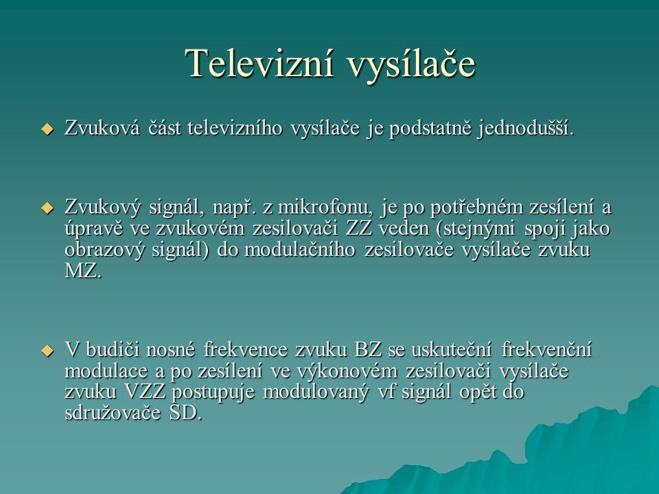 Televizní vysílače Zvuková část televizního vysílače je podstatně jednodušší.