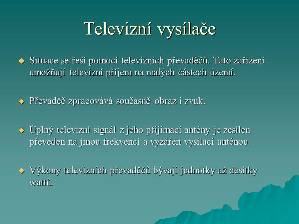 Televizní vysílače Situace se řeší pomocí televizních převaděčů. Tato zařízení umožňují televizní příjem na malých částech území.
