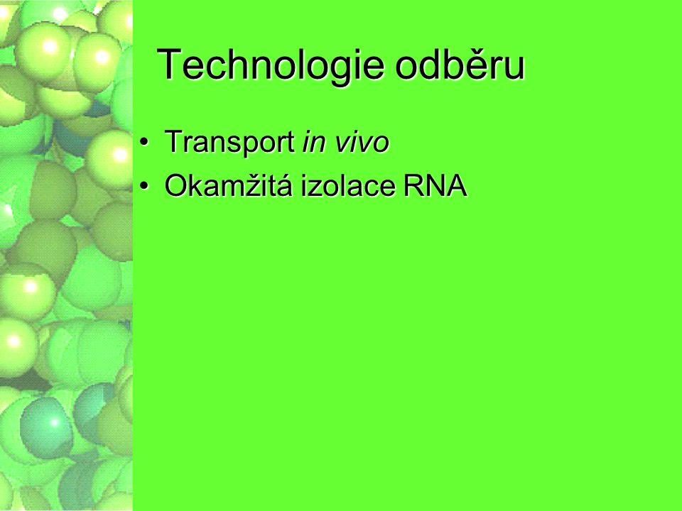 Technologie odběru Transport in vivo Okamžitá izolace RNA