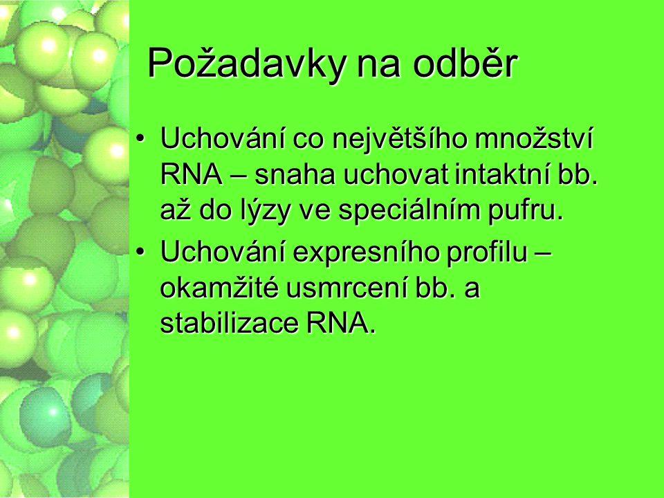 Požadavky na odběr Uchování co největšího množství RNA – snaha uchovat intaktní bb. až do lýzy ve speciálním pufru.