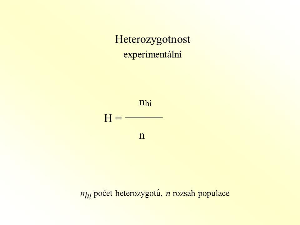 nhi počet heterozygotů, n rozsah populace