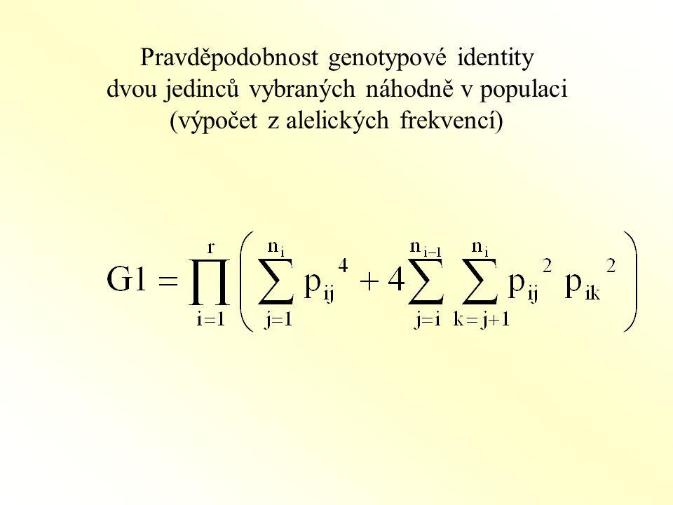Pravděpodobnost genotypové identity dvou jedinců vybraných náhodně v populaci (výpočet z alelických frekvencí)