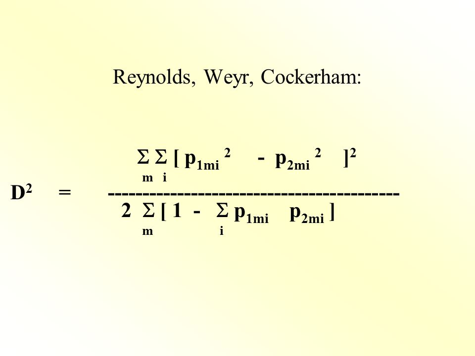 Reynolds, Weyr, Cockerham: