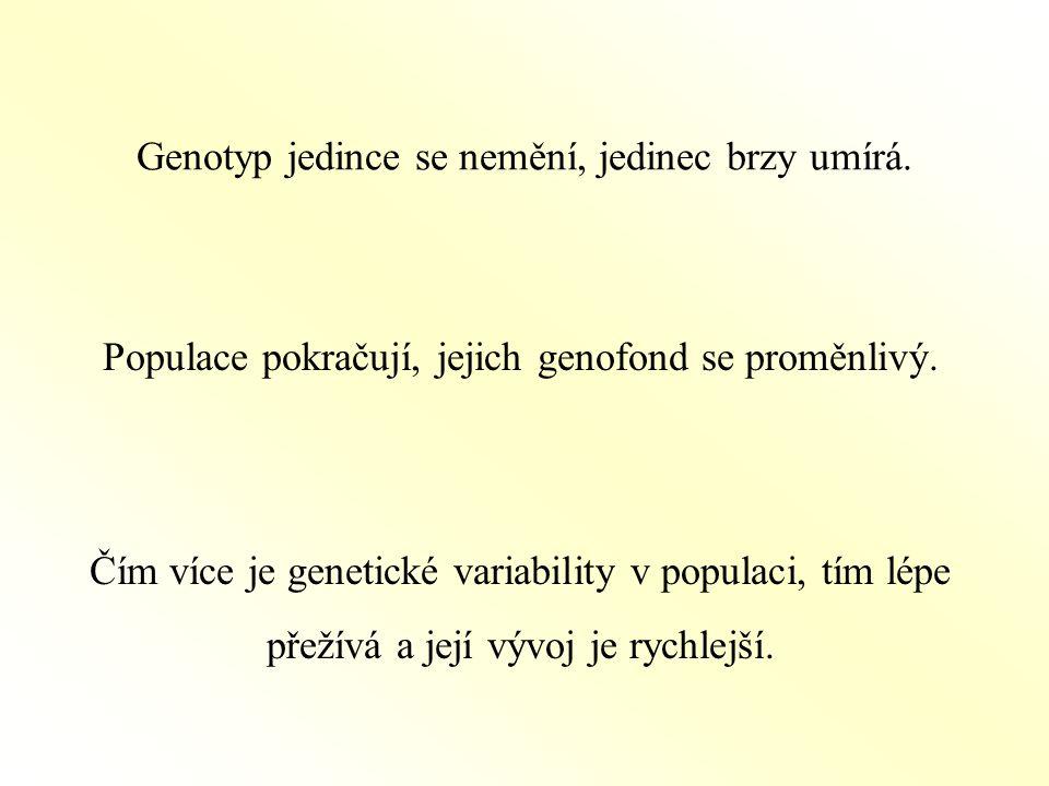 Genotyp jedince se nemění, jedinec brzy umírá.