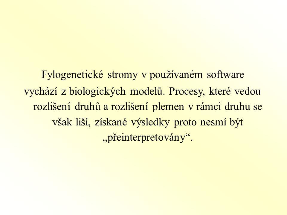 Fylogenetické stromy v používaném software