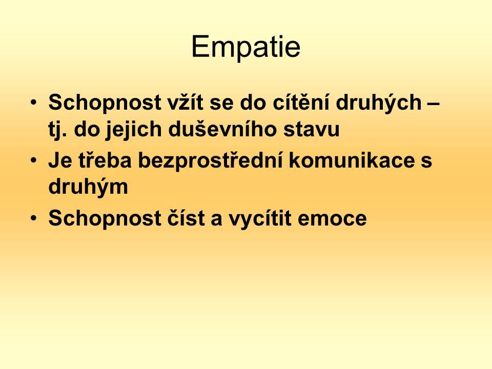 Empatie Schopnost vžít se do cítění druhých – tj. do jejich duševního stavu. Je třeba bezprostřední komunikace s druhým.