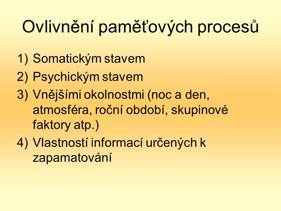 Ovlivnění paměťových procesů