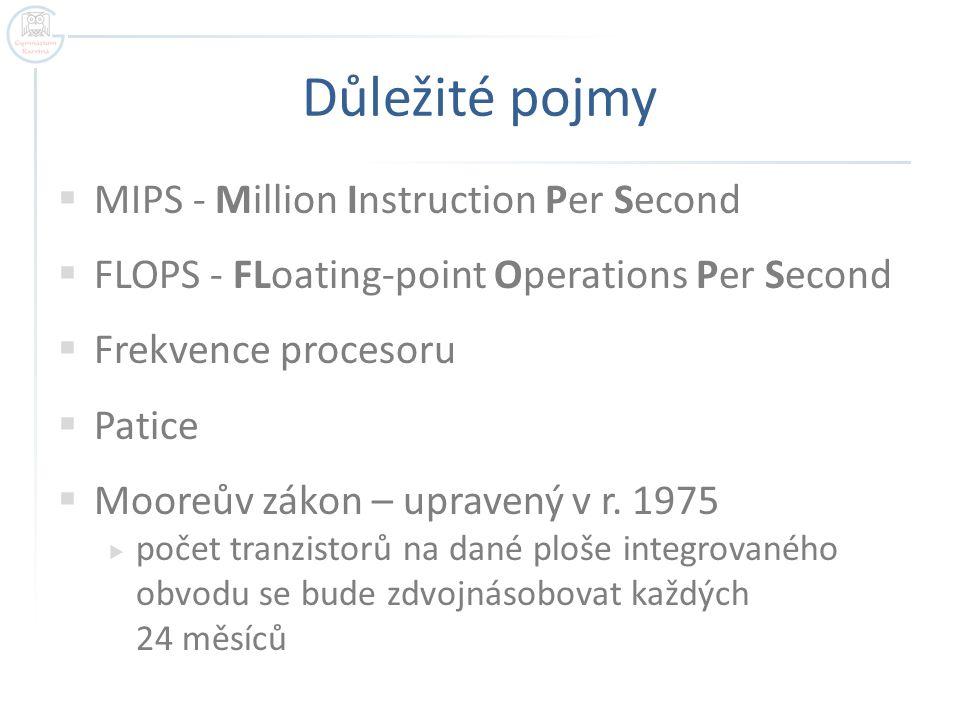 Důležité pojmy MIPS - Million Instruction Per Second