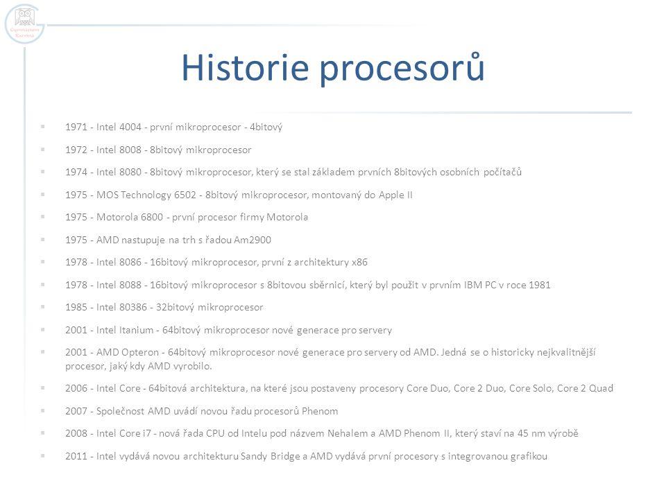Historie procesorů 1971 - Intel 4004 - první mikroprocesor - 4bitový