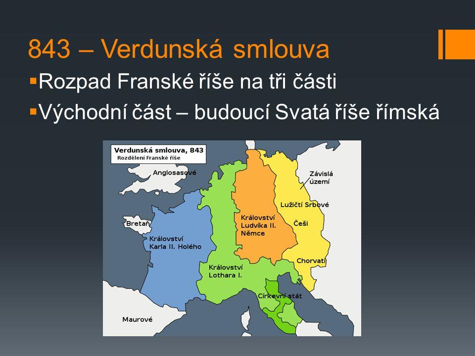 843 – Verdunská smlouva Rozpad Franské říše na tři části