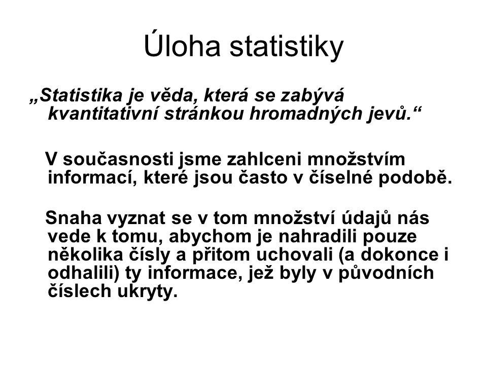 """Úloha statistiky """"Statistika je věda, která se zabývá kvantitativní stránkou hromadných jevů."""