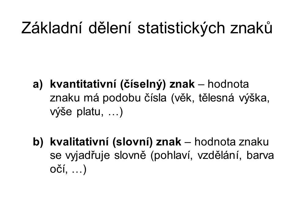 Základní dělení statistických znaků