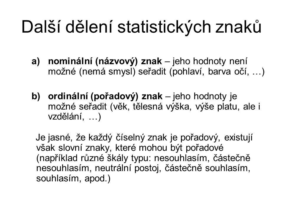 Další dělení statistických znaků