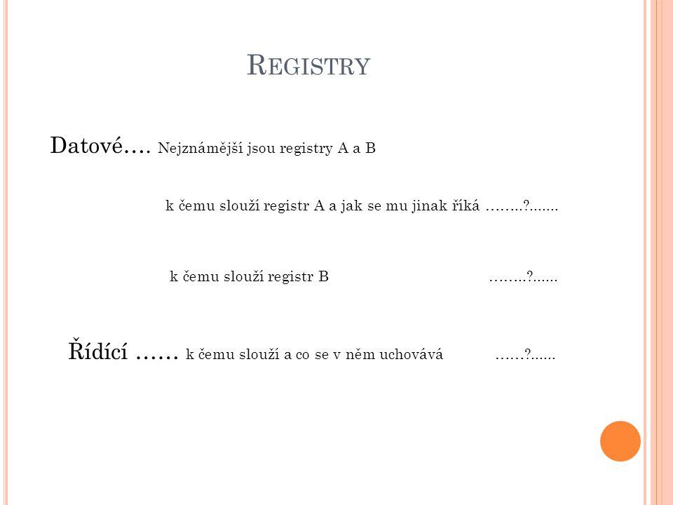 Registry Datové…. Nejznámější jsou registry A a B
