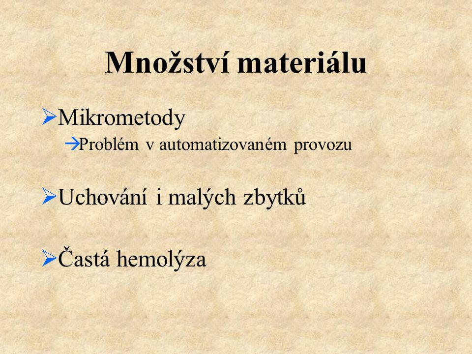 Množství materiálu Mikrometody Uchování i malých zbytků Častá hemolýza