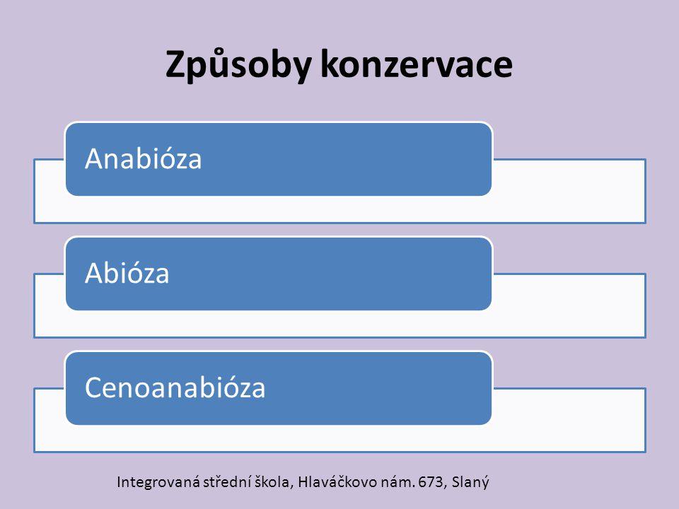 Způsoby konzervace Anabióza Abióza Cenoanabióza