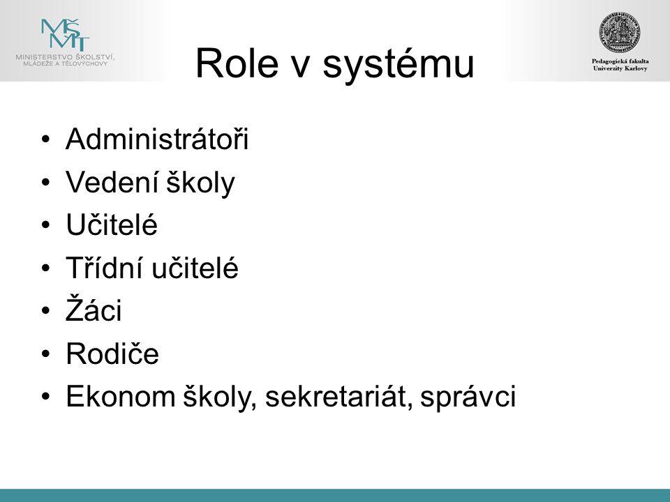 Role v systému Administrátoři Vedení školy Učitelé Třídní učitelé Žáci