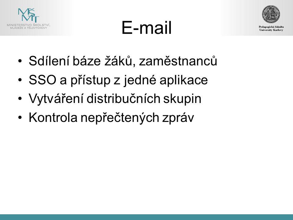 E-mail Sdílení báze žáků, zaměstnanců SSO a přístup z jedné aplikace