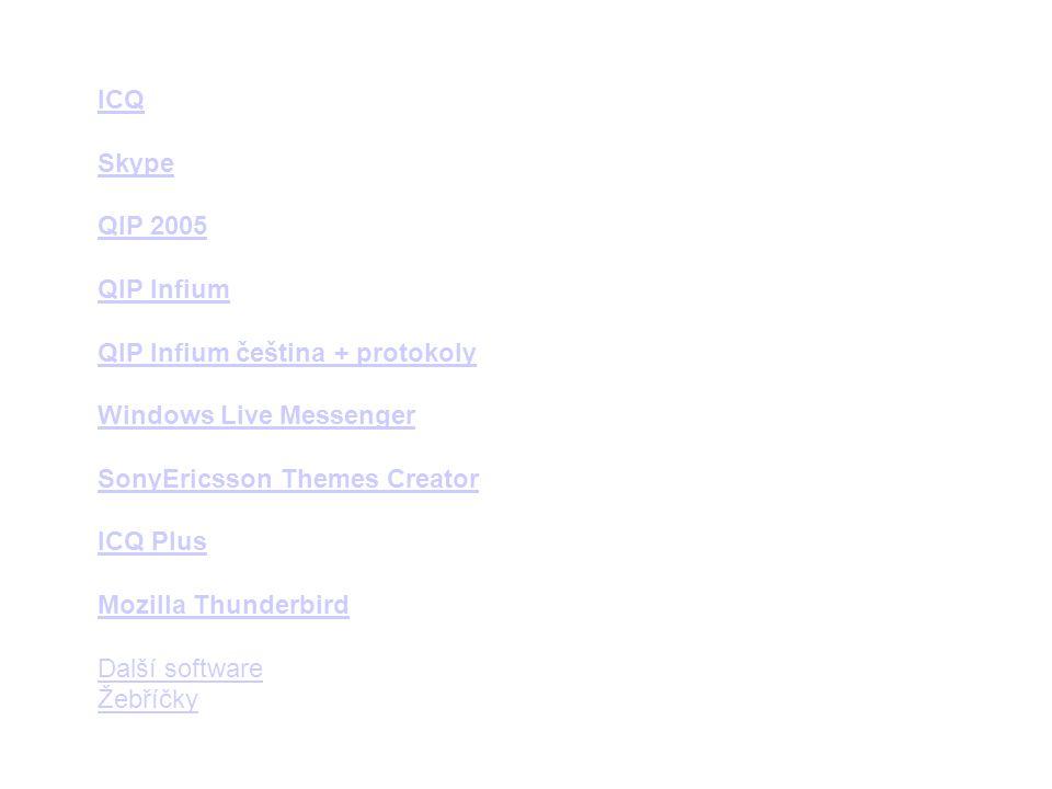 ICQ Skype. QIP 2005. QIP Infium. QIP Infium čeština + protokoly. Windows Live Messenger. SonyEricsson Themes Creator.