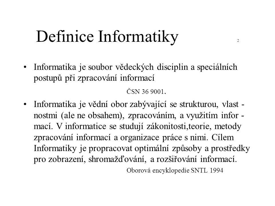 Definice Informatiky 2 Informatika je soubor vědeckých disciplin a speciálních postupů při zpracování informací.