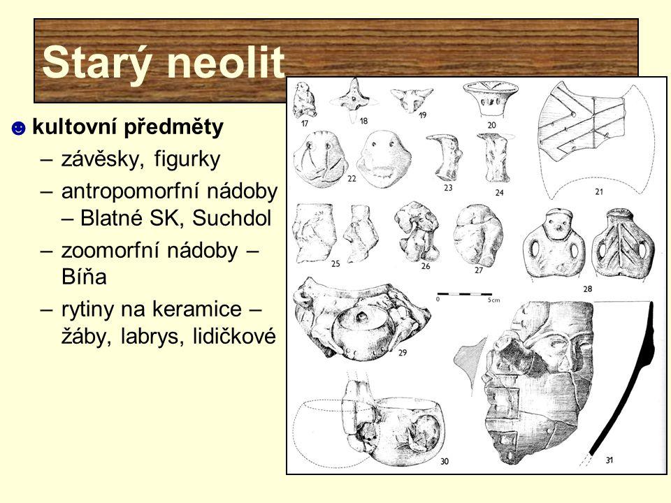 Starý neolit kultovní předměty závěsky, figurky
