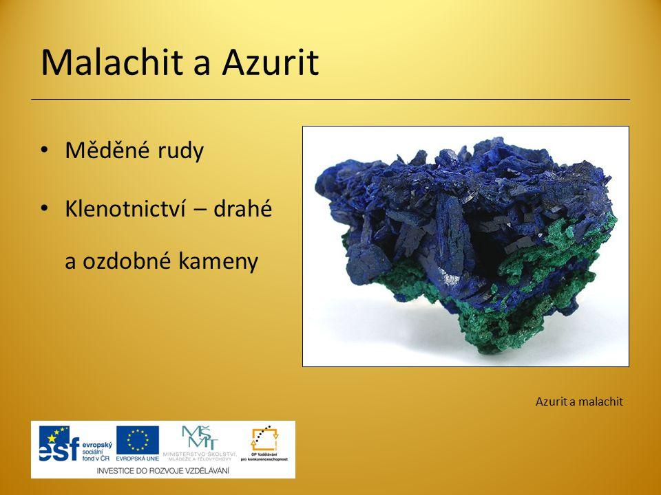 Malachit a Azurit Měděné rudy Klenotnictví – drahé a ozdobné kameny