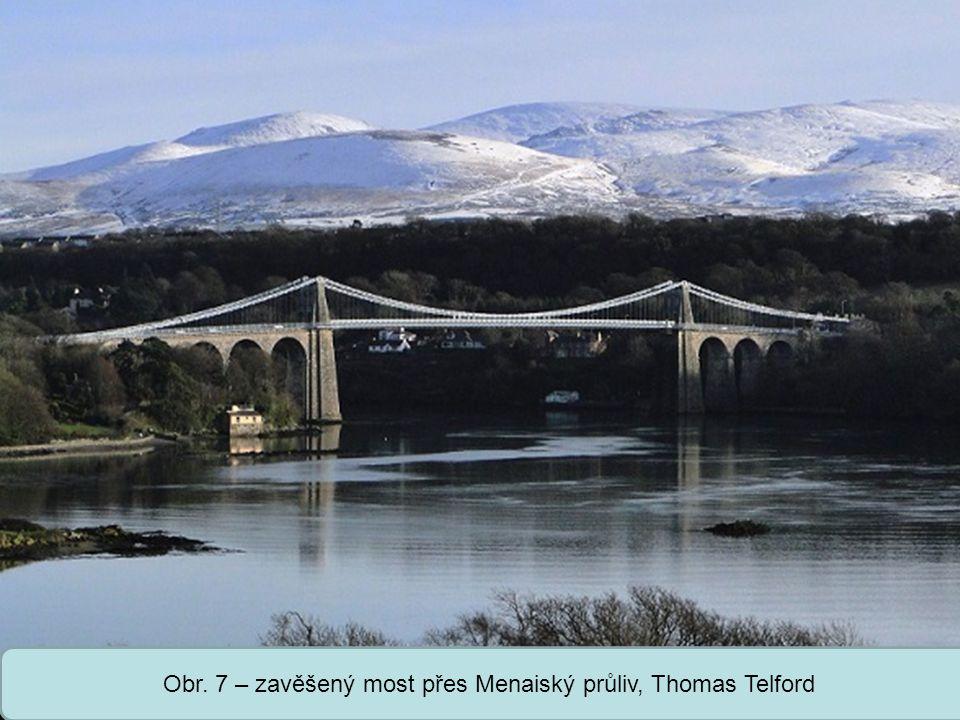 Obr. 7 – zavěšený most přes Menaiský průliv, Thomas Telford
