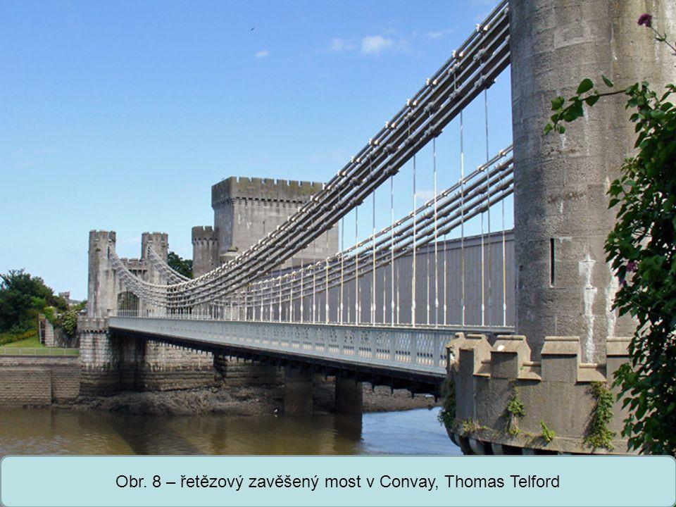 Obr. 8 – řetězový zavěšený most v Convay, Thomas Telford