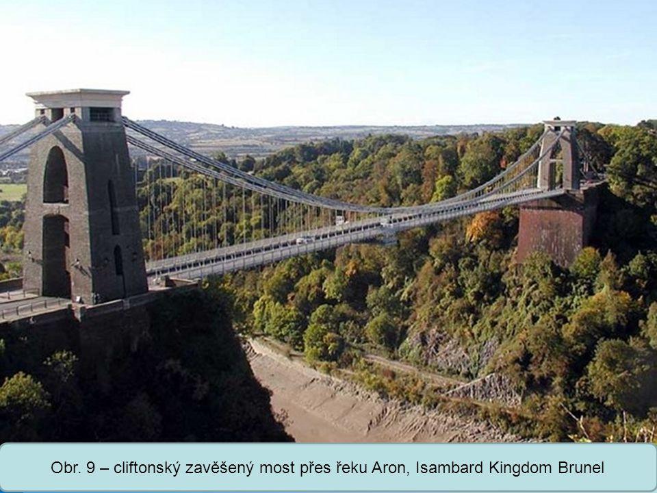 Obr. 9 – cliftonský zavěšený most přes řeku Aron, Isambard Kingdom Brunel