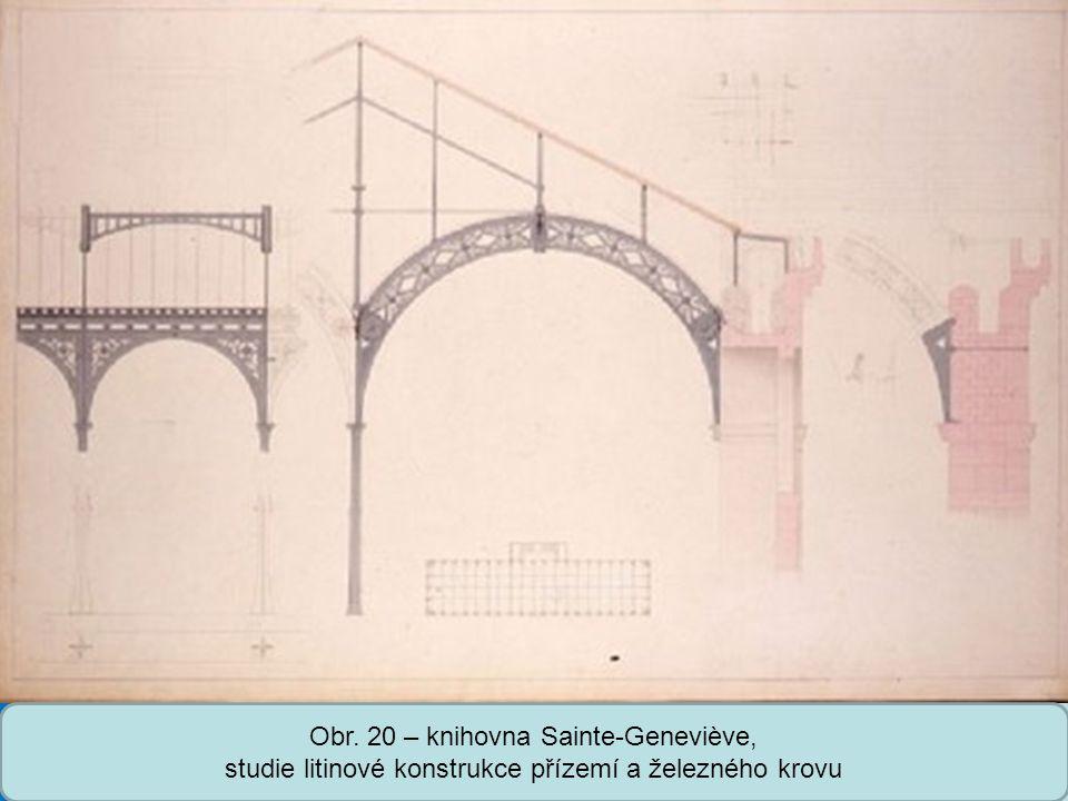 Obr. 20 – knihovna Sainte-Geneviève, studie litinové konstrukce přízemí a železného krovu