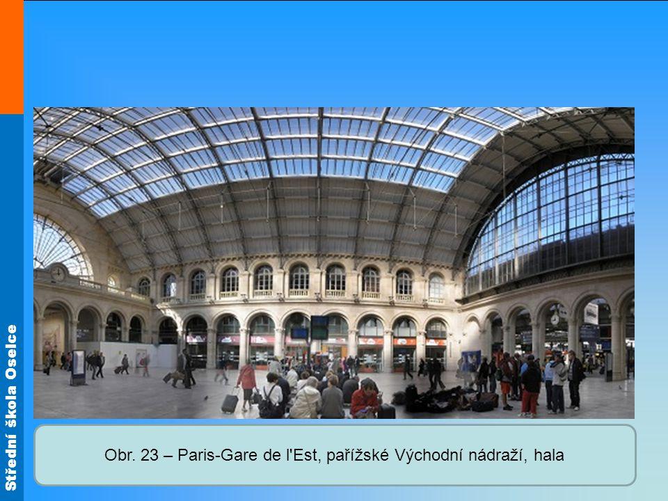 Obr. 23 – Paris-Gare de l Est, pařížské Východní nádraží, hala