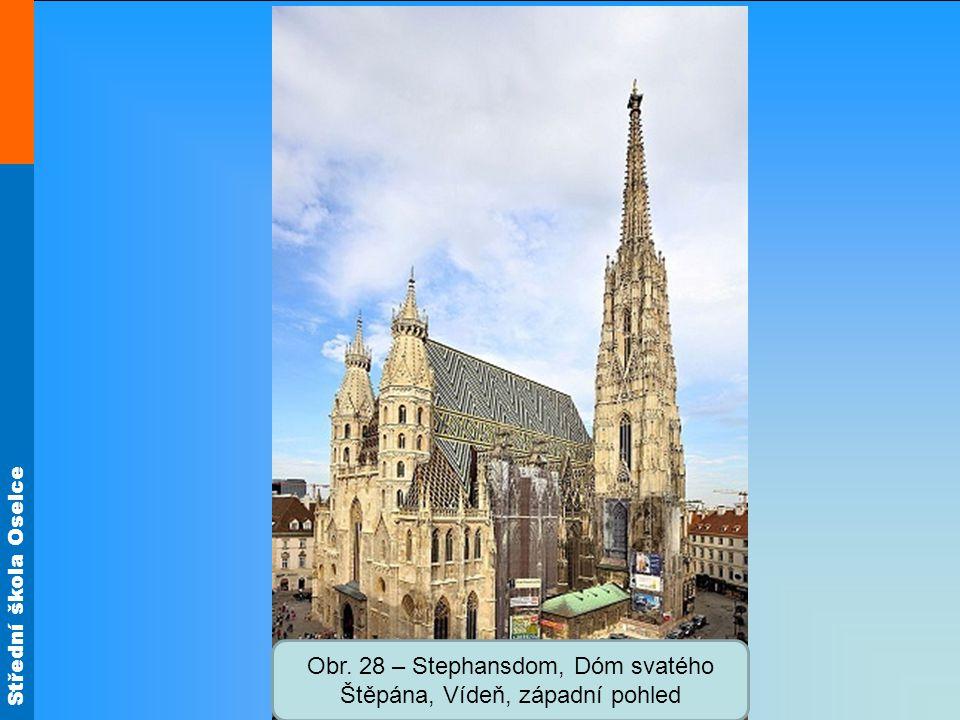 Obr. 28 – Stephansdom, Dóm svatého Štěpána, Vídeň, západní pohled