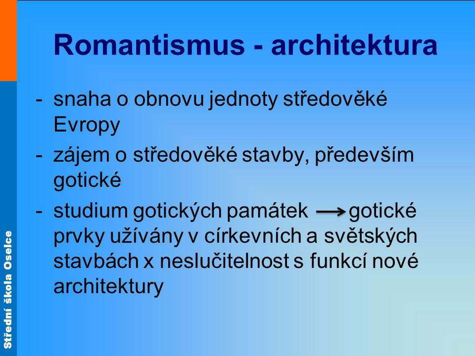 Romantismus - architektura