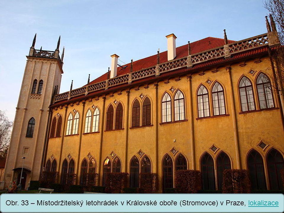 Obr. 33 – Místodržitelský letohrádek v Královské oboře (Stromovce) v Praze, lokalizace