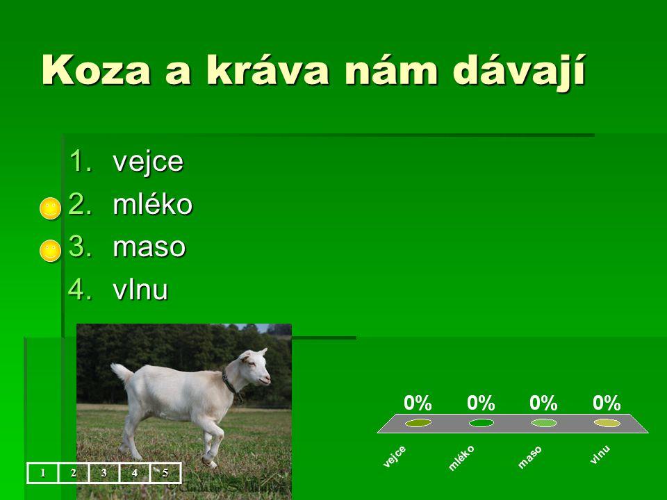Koza a kráva nám dávají vejce mléko maso vlnu 1 2 3 4 5
