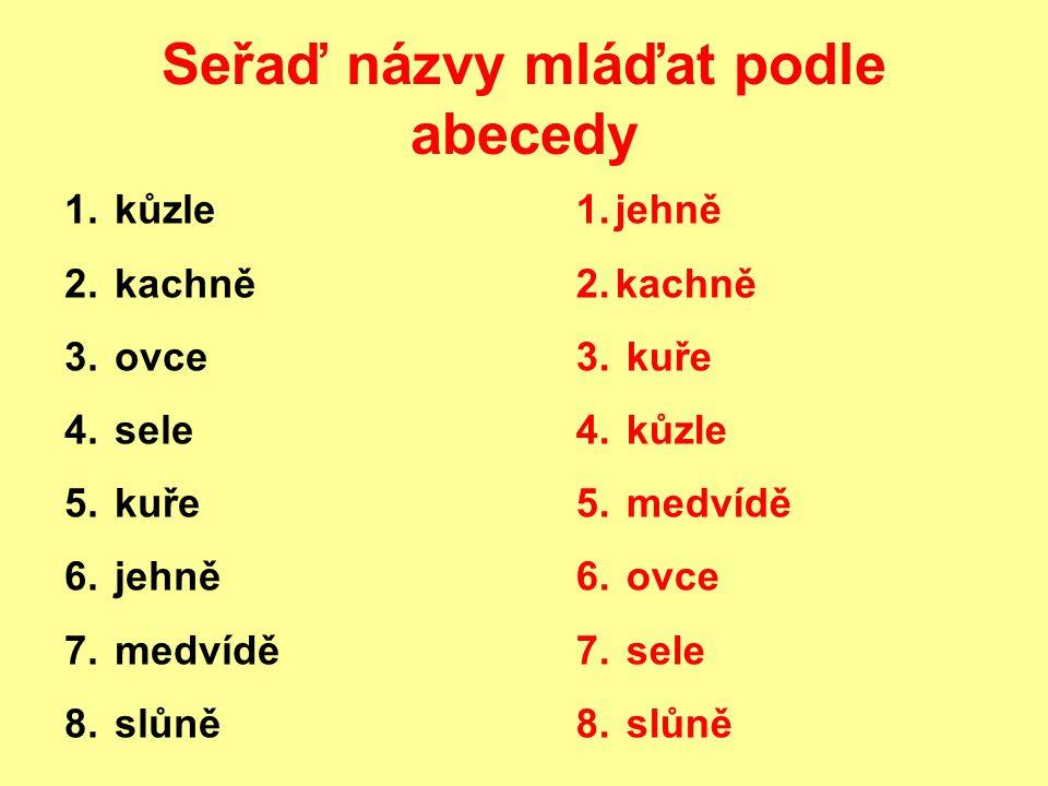 Seřaď názvy mláďat podle abecedy