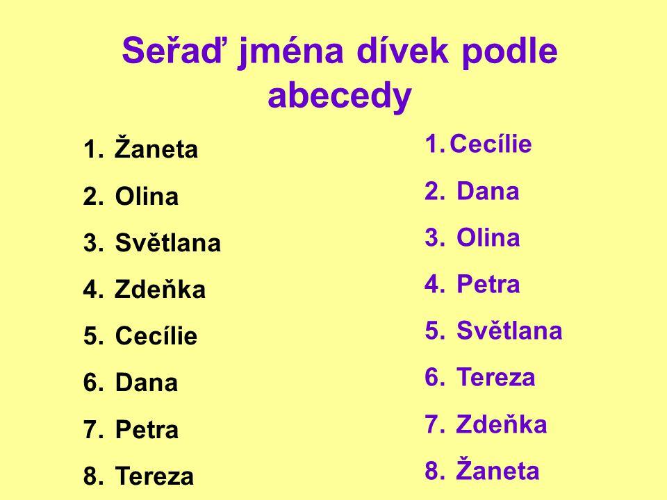 Seřaď jména dívek podle abecedy