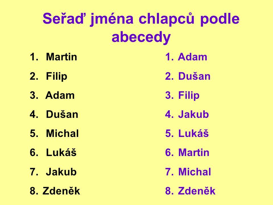 Seřaď jména chlapců podle abecedy