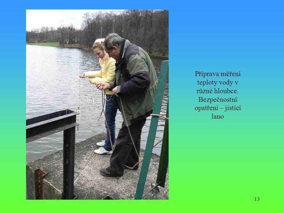 Příprava měření teploty vody v různé hloubce