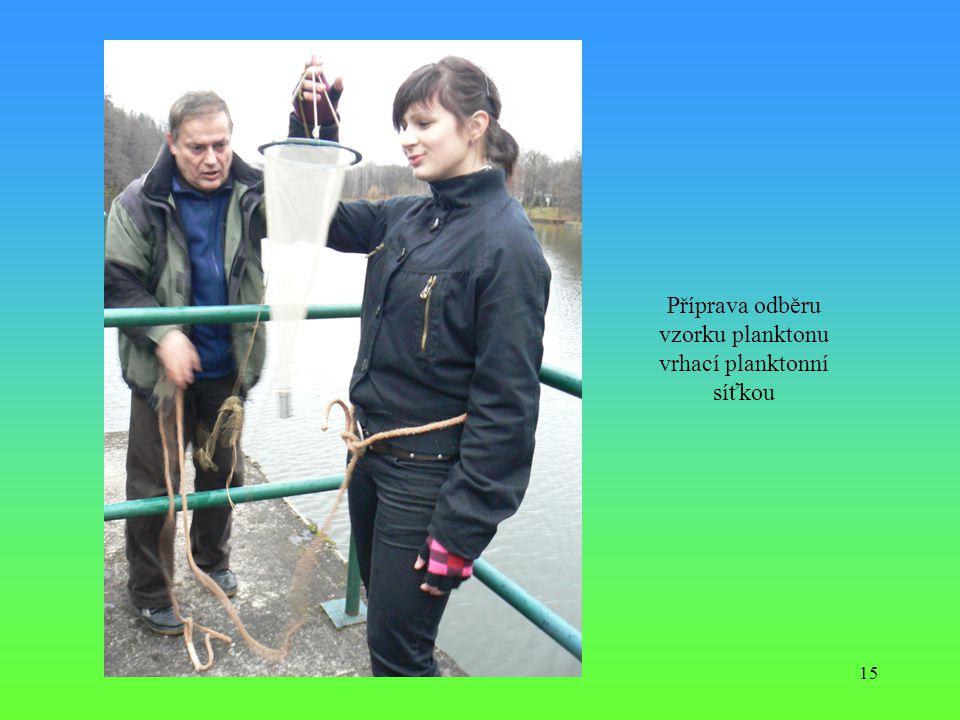 Příprava odběru vzorku planktonu vrhací planktonní síťkou