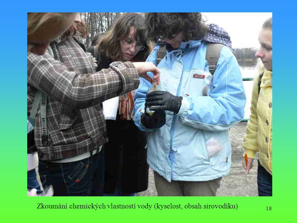 Zkoumání chemických vlastností vody (kyselost, obsah sirovodíku)