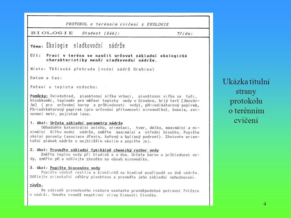Ukázka titulní strany protokolu o terénním cvičení