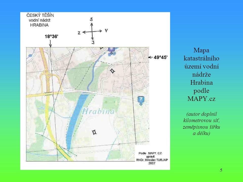 Mapa katastrálního území vodní nádrže Hrabina podle MAPY
