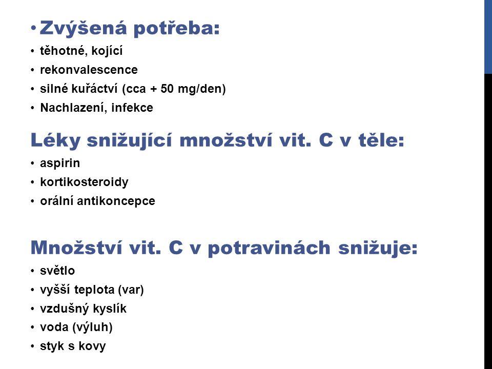 Léky snižující množství vit. C v těle: