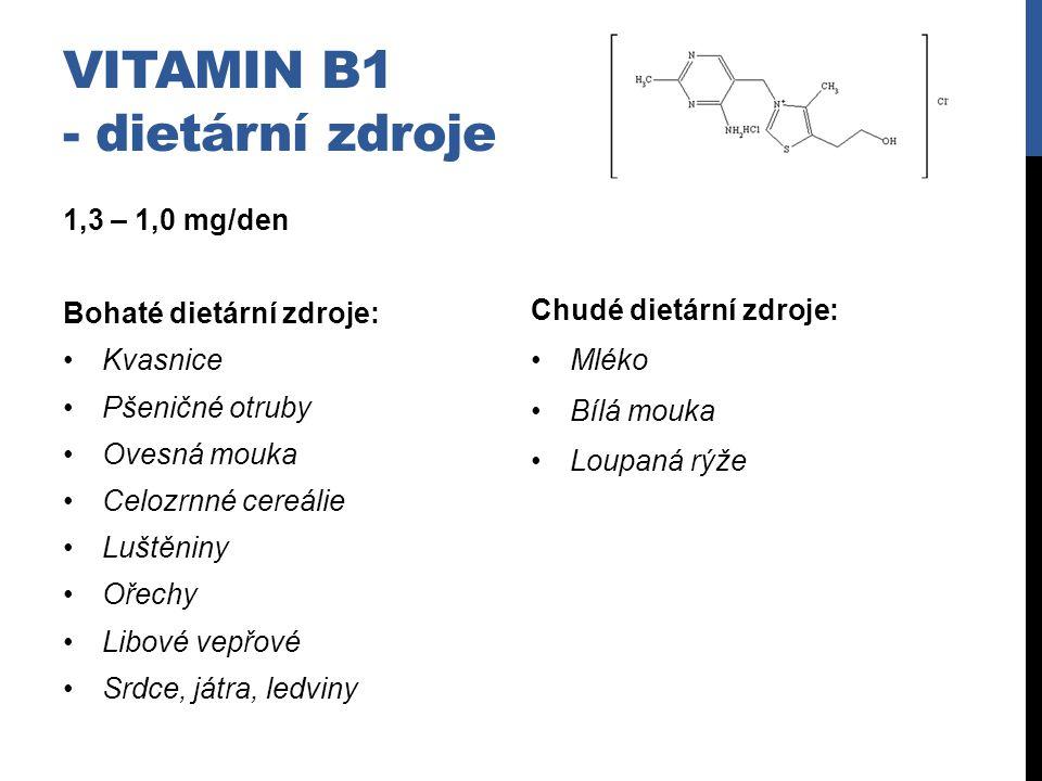 Vitamin B1 - dietární zdroje