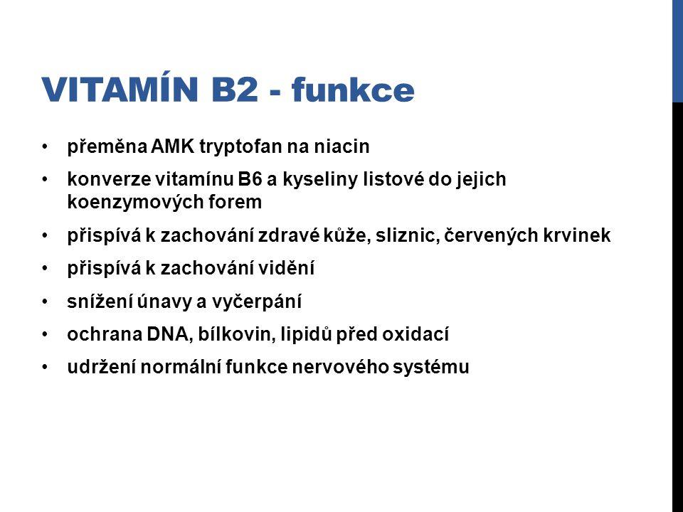 Vitamín B2 - funkce přeměna AMK tryptofan na niacin