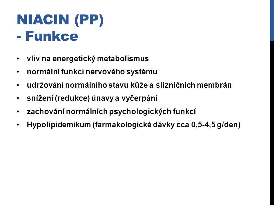Niacin (PP) - Funkce vliv na energetický metabolismus